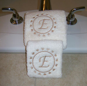 Embroidered  Hand  Towels  with Hearts and Letter Monogram
