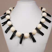 Ny6Design Black Coral Branch & White Coral Necklace w/Silver Toggle 20""