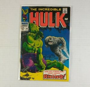 Incredible Hulk 104 vs. Rhino! Marie Severin Art 1968 Marvel Comics