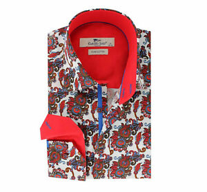 Men's Printed Shirt Slim Fit Cotton Sizes XXL 3XL Claudio Lugli Paisley Flower