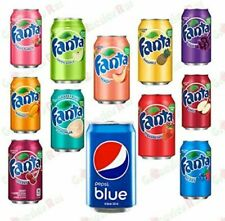 Fanta Fizzy Drink Mixed Selection Pack 355ml x 11 + 1  Pepsi Blue 330ml, Pack 12