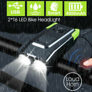USB Rechargeable 15000LM Bicycle Bike Smart Front Light 2*T6 LED 6 Modes w/ Horn