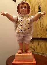 "Large Vintage Santos Baby Jesus Figure Striking Glass Eyes 16"" Wood Mounted"