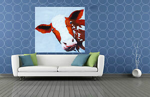 50cm x 50cm MAD COW FUNNY art print  QUALITY LARGE CANVAS  pepe