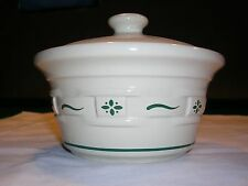 Longaberger Woven Traditions Heritage Green covered small dish with lid