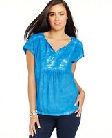 Style & Co High-Low Split-Neck Embellished-Bib Top Size XL