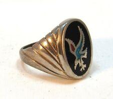 Vintage Men's Inlayed turquoise BIRD OF PREY Southwest Biker Ring