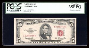 DBR 1953 $5 Legal Fr. 1532 AA Block PCGS 35 PPQ Serial A23883756A