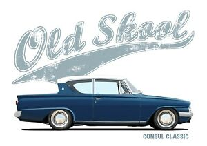 FORD CONSUL CLASSIC 2dr t-shirt. OLD SKOOL. CLASSIC CAR. MODIFIED.