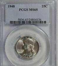 1948 Washington Quarter : PCGS MS65 Blazing White