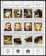 Argentina: Fauna and Pioneers of Southern Argentina sheet; unmounted mint (MNH)