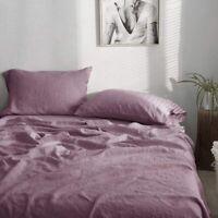 Simple&Opulence 100% Washed Linen SHEET Set 3 Piece QUEEN Purple Farmhouse