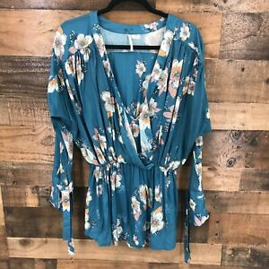 Free People Women's Blue Floral Oversized Drop Waist Crossover Top Size XS
