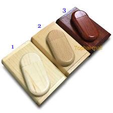 10PCS 2GB Wood Memory Flash USB Drive 2.0 Pendrives Stick Clamshell Wooden Case