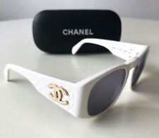 vintage CHANEL sunglasses white 0003 unisex quilted 80s Italy no CD Dita Supreme