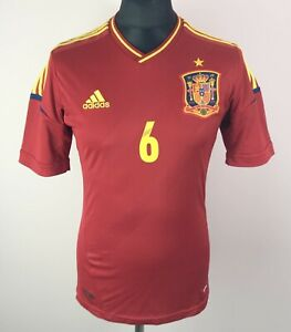 Iniesta #6 Spain 2012/2013 ADIDAS Home Football Shirt Men's Size S Soccer Jersey