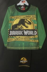 Boy's JURASSIC WORLD Pyjamas / Green & Grey Dinosaur PJs - Sizes 4-10 Years