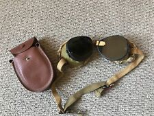 Vintage WWII British Army Motorcycle Goggles & Bag