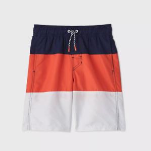 NWT Cat & Jack Boys Colorblock Swim Trunks - Navy/Orange XL