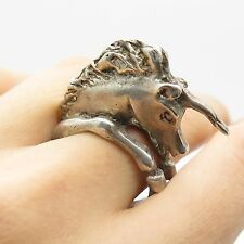 Vtg 925 Sterling Silver Handmade Unicorn Modernist Design Ring Size 8.5