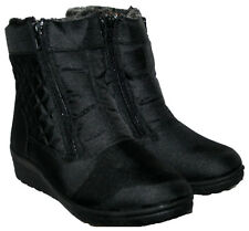LADIES BLACK SHOWERPROOF FUR LINED WINTER SNOW BOOT WITH FRONT ZIPS IN SIZE 3