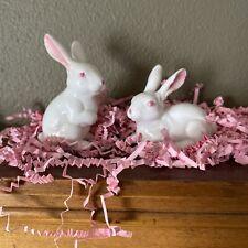 Miniature Porcelain Rabbit Figurines - Lot 2 Miniature Bunny Rabbits Pink Eye2