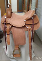 """Western  Natural Leather Strip Down Roper Ranch Saddle With Strings : 16"""""""