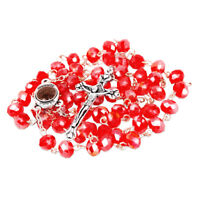 Rosary Beads with INRI Red Crystal Beaded from Jerusalem the Holy Land 20.5""
