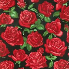 Fat Quarter Roses Are Red Blossom Flowers Cotton Quilting Sewing Fabric