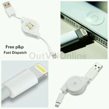 CARICABATTERIE USB Retrattile Sync Cavo iPhone 5 5s 6 iPad Mini Nano Lightning Bianco