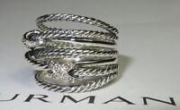 David yurman Double X Crossover Ring with Diamonds -  SIZE 7