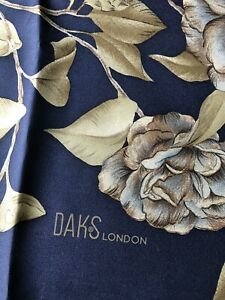 """ DAKS LONDON "" WOMANS CLASSIC NAVY FLORAL100% SILK SCARF"