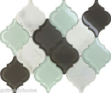 Sample Glass Stone Arabesque Moroccan Pattern Mosaic Tile Kitchen Backsplash Spa