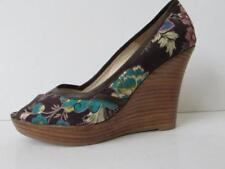 MODA IN PELLE Brown Floral Fabric High Wedge Heel Sandals Leather Trim Size 5 VG