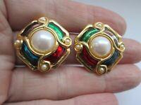 Vintage Ruby Emerald & Blue Enamel Faux Pearl Gold Tone Metal Clip On Earrings