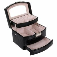 Automatic Leather Jewelry Box Three-layer Storage Box For Women Earring Rin L6R4