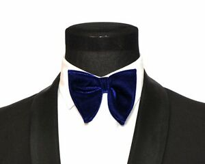 Mens FERUCCI Oversized Bow Tie - Blue Velvet Bowtie, Mens big bow tie