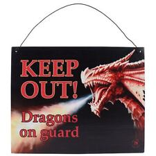 ANNE STOKES METAL WALL ART 'KEEP OUT DRAGONS ON GUARD'  WALL SIGN PLAQUE
