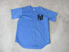 VINTAGE Majestic New York Yankees Baseball Jersey Adult Large Blue Pinstripe 90s
