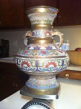 Antique Japanese Urn Vase Mixed Metal Brass Dragon Handles Enamel Cloisonné