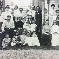 Lovely FARMHOUSE HUGE Family Reunion Photo Photograph Vtg Reprint Portrait Large