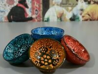 Turkish Handmade Ceramic Meze Bowl Set Colorful Anatolian Art for Sauce Wasabi