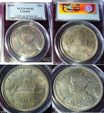 HIGH GRADE Canada 1935 SILVER DOLLAR . PCGS MS 66 UNCIRCULATED - LOVELY TONED