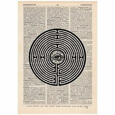 Eye Labyrinth Dictionary Print OOAK, Travel, Art,Unique, Gift,