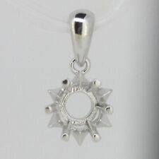 Sterling Silver Semi Mount Pendant Setting Round RD 6x6mm Solitaire