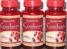 3 Puritan's Pride Cranberry Fruit Concentrate + Vitamin C & E 4200mg 300 Softgel
