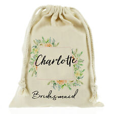 Personalised wedding Sack, gift bag/ bridesmaid flower bride Customise with Name