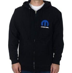 Men's Mopar Zip Hoodie Sweatshirt Black Mopar Blue Racing MOP903AP22BLK