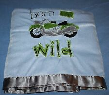 """Beansprout BORN TO BE WILD MOTORCYCLE Blue Gray Security Baby Blanket 29"""" x 35"""""""