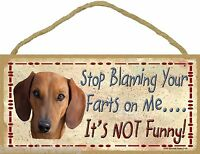 """Brown Dachshund Stop Blaming Your Farts On Me Not Funny Dog Sign Plaque 5X10"""""""